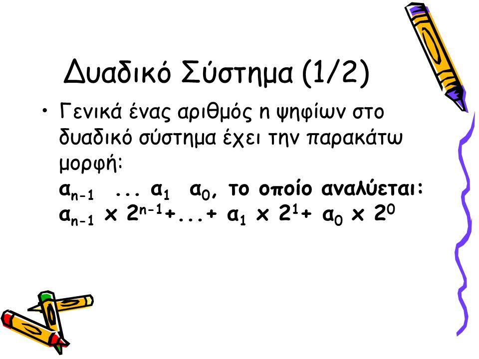 Δυαδικό Σύστημα (1/2) Γενικά ένας αριθμός n ψηφίων στο δυαδικό σύστημα έχει την παρακάτω μορφή: α n-1... α 1 α 0, το οποίο αναλύεται: α n-1 x 2 n-1 +.