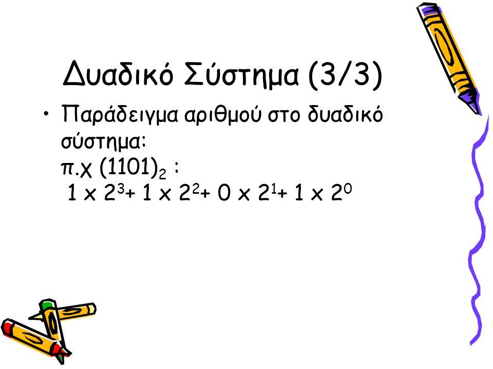 Δυαδικό Σύστημα (3/3) Παράδειγμα αριθμού στο δυαδικό σύστημα: π.χ (1101) 2 : 1 x 2 3 + 1 x 2 2 + 0 x 2 1 + 1 x 2 0