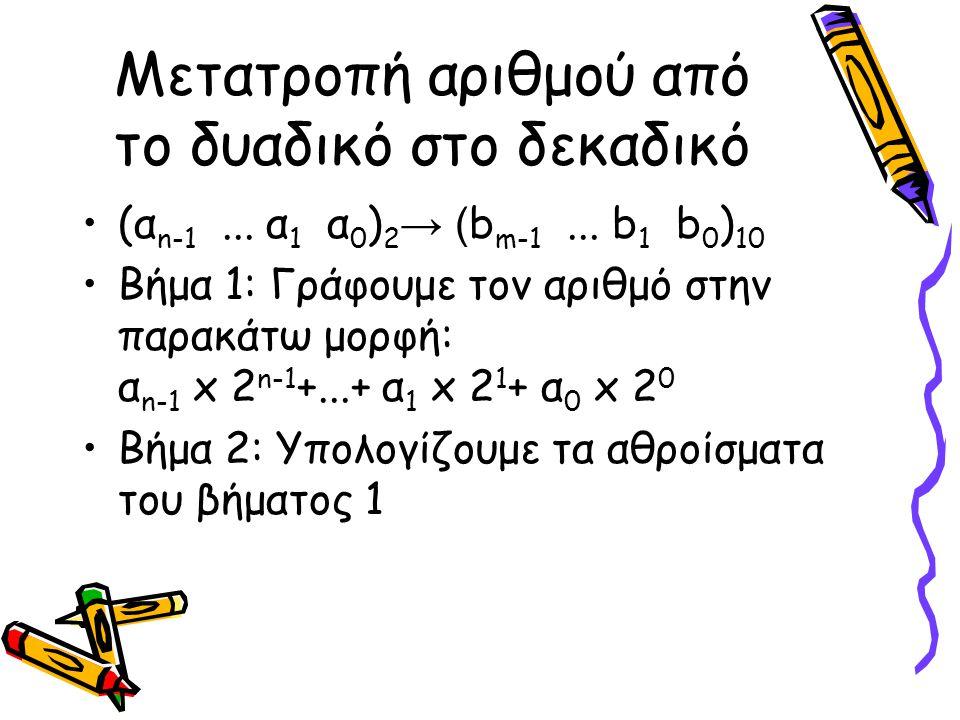 Μετατροπή αριθμού από το δυαδικό στο δεκαδικό (α n-1... α 1 α 0 ) 2 → ( b m-1... b 1 b 0 ) 10 Βήμα 1: Γράφουμε τον αριθμό στην παρακάτω μορφή: α n-1 x