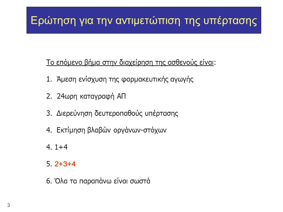 Το επόμενο βήμα στην διαχείρηση της ασθενούς είναι: 1.Άμεση ενίσχυση της φαρμακευτικής αγωγής 2.24ωρη καταγραφή ΑΠ 3. Διερεύνηση δευτεροπαθούς υπέρτασ