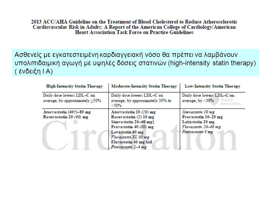 Ασθενείς με εγκατεστειμένη καρδιαγγειακή νόσο θα πρέπει να λαμβάνουν υπολιπιδαιμική αγωγή με υψηλές δόσεις στατινών (high-intensity statin therapy) (