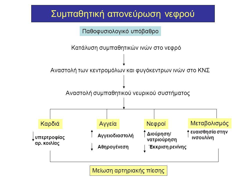 Συμπαθητική απονεύρωση νεφρού Παθοφυσιολογικό υπόβαθρο Kατάλυση συμπαθητικών ινών στο νεφρό Αναστολή των κεντρομόλων και φυγόκεντρων ινών στο ΚΝΣ Ανασ