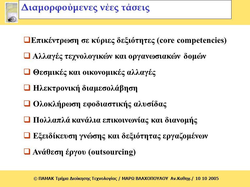 © ΠΑΜΑΚ Τμήμα Διοίκησης Τεχνολογίας / MΑΡΩ ΒΛΑΧΟΠΟΥΛΟΥ Αν.Καθηγ./ 10 10 2005 Διαμορφούμενες νέες τάσεις  Επικέντρωση σε κύριες δεξιότητες (core compe