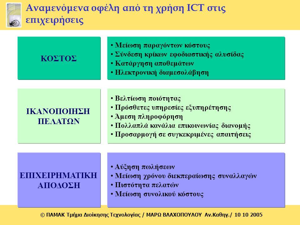 © ΠΑΜΑΚ Τμήμα Διοίκησης Τεχνολογίας / MΑΡΩ ΒΛΑΧΟΠΟΥΛΟΥ Αν.Καθηγ./ 10 10 2005 Αναμενόμενα οφέλη από τη χρήση ICT στις επιχειρήσεις Μείωση παραγόντων κό