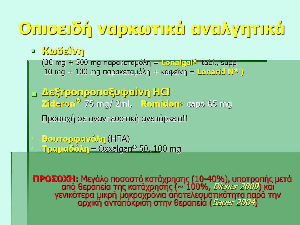 Οπιοειδή ναρκωτικά αναλγητικά  Κωδεΐνη (30 mg + 500 mg παρακεταμόλη = Lonalgal ® tabl., supp 10 mg + 100 mg παρακεταμόλη + καφεΐνη = Lonarid N ® ) 10