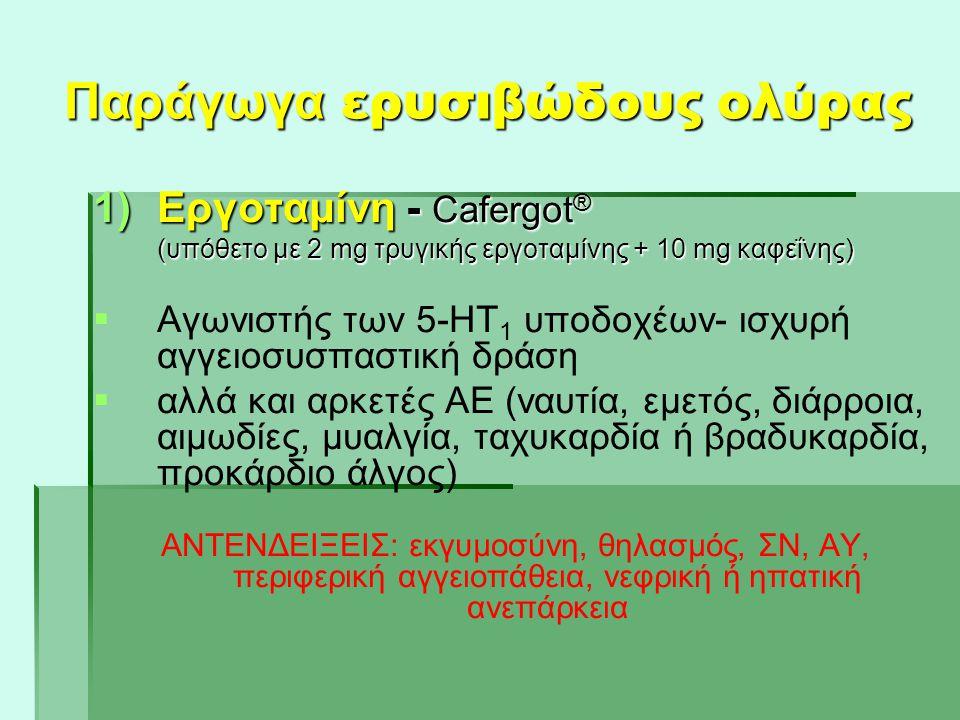 Παράγωγα ερυσιβώδους ολύρας 1)Εργοταμίνη - Cafergot ® (υπόθετο με 2 mg τρυγικής εργοταμίνης + 10 mg καφεΐνης) (υπόθετο με 2 mg τρυγικής εργοταμίνης +