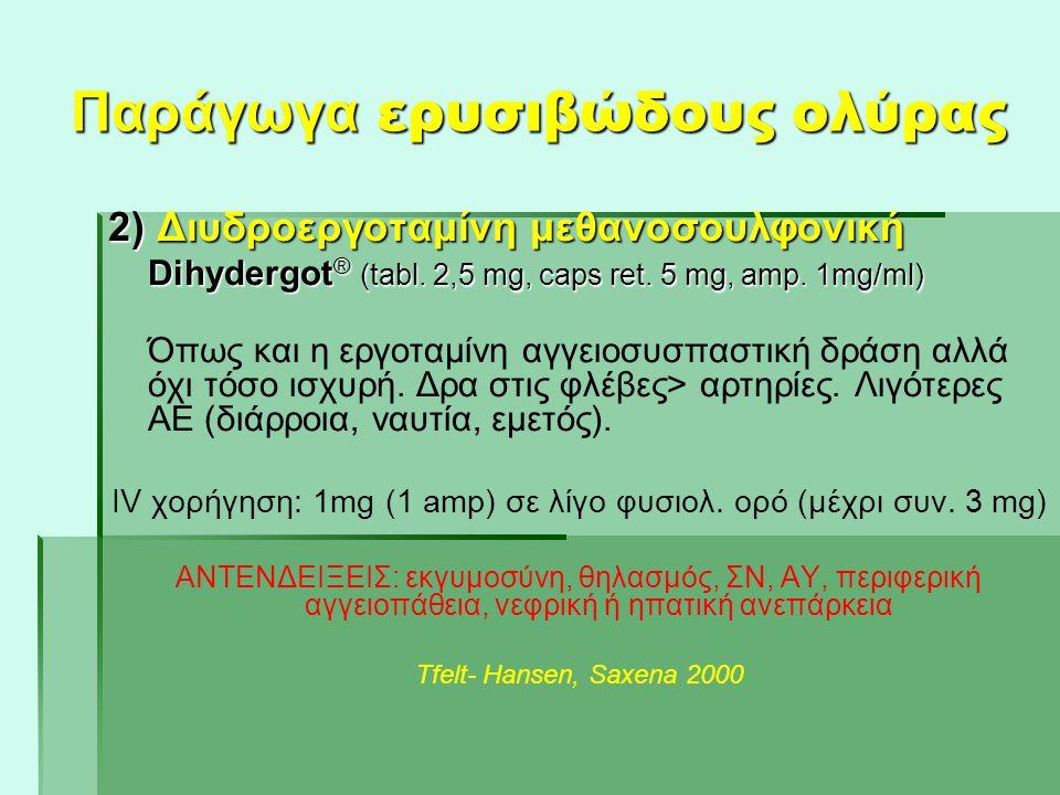Παράγωγα ερυσιβώδους ολύρας 2) Διυδροεργοταμίνη μεθανοσουλφονική Dihydergot ® (tabl. 2,5 mg, caps ret. 5 mg, amp. 1mg/ml) Όπως και η εργοταμίνη αγγειο
