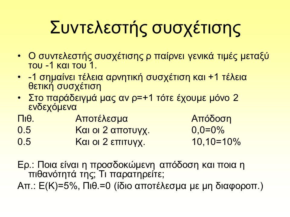Συντελεστής συσχέτισης Ο συντελεστής συσχέτισης ρ παίρνει γενικά τιμές μεταξύ του -1 και του 1.