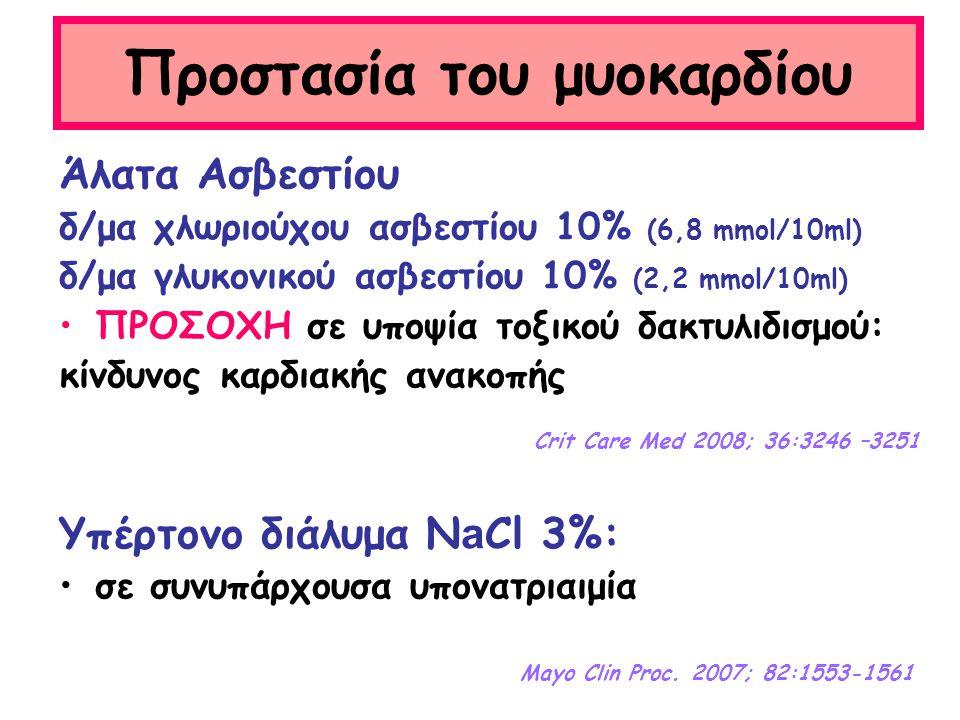 Προστασία του μυοκαρδίου Άλατα Ασβεστίου δ/μα χλωριούχου ασβεστίου 10% (6,8 mmol/10ml) δ/μα γλυκονικού ασβεστίου 10% (2,2 mmol/10ml) ΠΡΟΣΟΧΗ σε υποψία