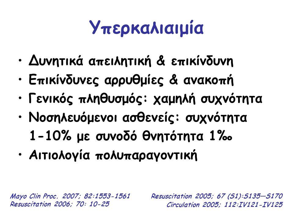 Υπερκαλιαιμία ΜΕ Ανακοπή Αλγόριθμος της Βασικής & Προχωρημένης ΚΑΡΠΑ Resuscitation 2006; 70: 10-25 Οι προσπάθειες ΚΑΡΠΑ ΔΕΝ θα πρέπει να σταματούν μέχρι να ελεγχθεί η [Κ + ] στον ορό του αίματος