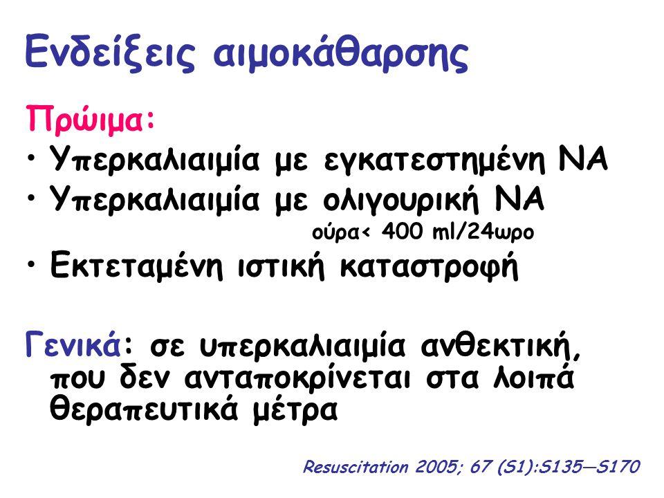 Ενδείξεις αιμοκάθαρσης Πρώιμα: Υπερκαλιαιμία με εγκατεστημένη ΝΑ Υπερκαλιαιμία με ολιγουρική ΝΑ ούρα< 400 ml/24ωρο Εκτεταμένη ιστική καταστροφή Γενικά
