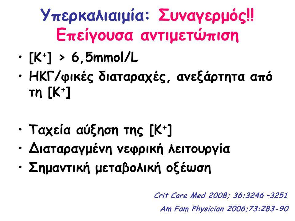 Υπερκαλιαιμία: Συναγερμός!! Επείγουσα αντιμετώπιση [Κ + ] > 6,5mmol/L ΗΚΓ/φικές διαταραχές, ανεξάρτητα από τη [Κ + ] Ταχεία αύξηση της [Κ + ] Διαταραγ
