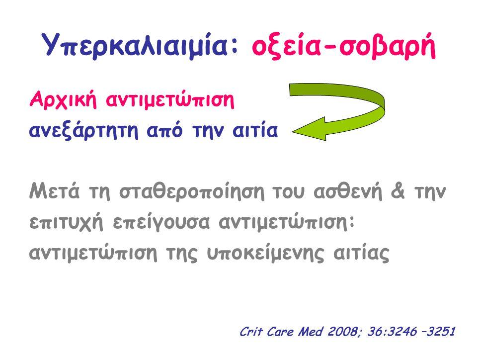 Υπερκαλιαιμία >6.5 ΔΙΧΩΣ Καρδιοπνευμονική Ανακοπή ΜΕ ΗΚΓ/φικές διαταραχές 2 ο βήμα: ενδοκυττάρια μετακίνηση Κ + Ινσουλίνη 10U iv & Γλυκόζη 50g iv Σαλβουταμόλη 5 mg neb Διττανθρακικά 50 mmol iv 3 ο βήμα: αποβολή Κ από τον οργανισμό 1 ο βήμα: προστασία του μυοκαρδίου Χλωριούχο ασβέστιο 10% 10ml iv N a Cl 0,9% iv Φουροσεμίδη 1 mg/kg iv Ρητίνη με υπακτικό Αιμοκάθαρση