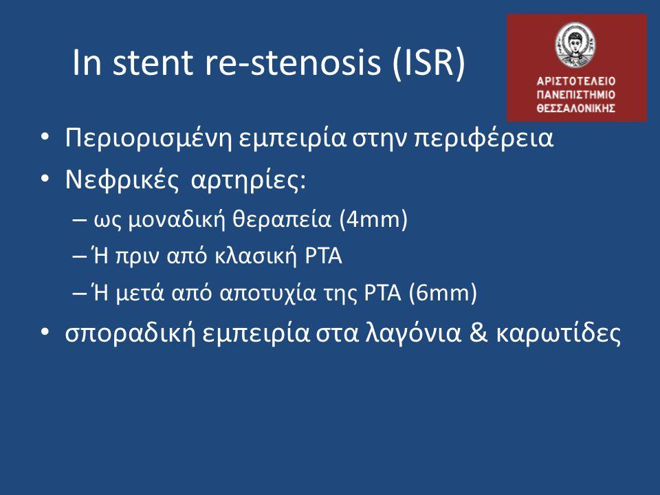 In stent re-stenosis (ISR) Περιορισμένη εμπειρία στην περιφέρεια Νεφρικές αρτηρίες: – ως μοναδική θεραπεία (4mm) – Ή πριν από κλασική PTA – Ή μετά από αποτυχία της PTA (6mm) σποραδική εμπειρία στα λαγόνια & καρωτίδες