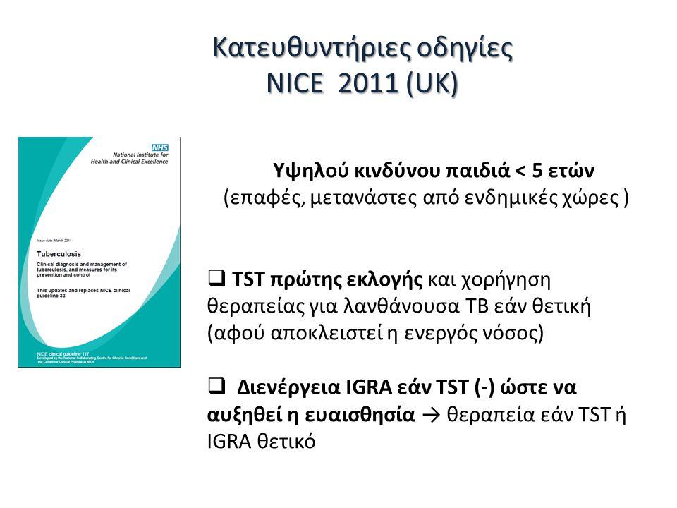 Κατευθυντήριες οδηγίες NICE 2011 (UK) Υψηλού κινδύνου παιδιά < 5 ετών (επαφές, μετανάστες από ενδημικές χώρες )  TST πρώτης εκλογής και χορήγηση θεραπείας για λανθάνουσα ΤΒ εάν θετική (αφού αποκλειστεί η ενεργός νόσος)  Διενέργεια IGRA εάν TST (-) ώστε να αυξηθεί η ευαισθησία → θεραπεία εάν TST ή IGRA θετικό
