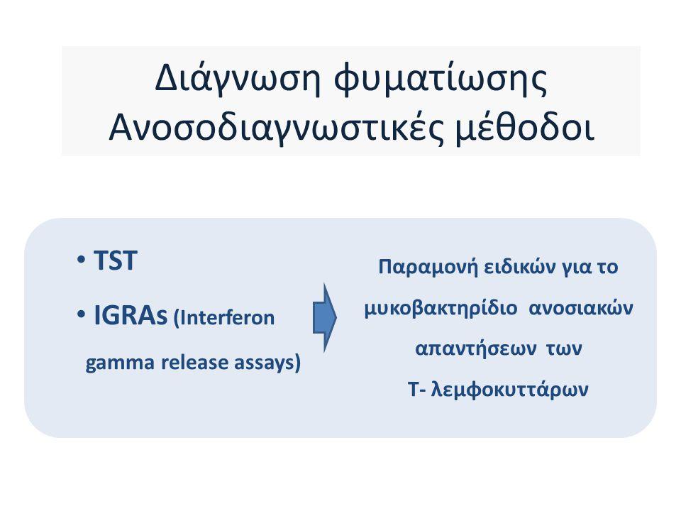 Ποιος ο ρόλος των IGRAs στη διάγνωση της φυματίωσης στα παιδιά;  Παιδιά μικρής ηλικίας ή ανοσοκατεσταλμένα, ιδιαίτερα εάν σοβαρή νόσος : σε συνδυασμό με τη Mantoux ώστε να αυξηθεί η ευαισθησία  Μεγαλύτερα, ανοσοεπαρκή, σοβαρή νόσος (-), ιδιαίτερα εάν BCG(+) : αντί της Mantoux - αύξηση της ειδικότητας της διάγνωσης CDC MMWR 2010; ECDC 2011; Red Book, AAP 2009 ; http://www.who.int/tb/features_archive/igra_factsheet_oct2011.pdf Amanatidou A et al Eur J Clin Microbiol 2012; Tsolia M et al PIDJ 2010 Η χρήση τους δεν συνιστάται από τον Π.Ο.Υ σε χαμηλού και μέσου εισοδήματος χώρες Οι IGRAs δεν έχουν θέση στη μικροβιολογικά επιβεβαιωμένη νόσο Το αρνητικό αποτέλεσμα IGRA δεν αποκλείει ενεργό ή λανθάνουσα TB Οι IGRAs δεν μπορούν να κάνουν διάκριση μεταξύ ενεργού και λανθάνουσας TB http://guidance.nice.org.uk/CG117/Guidance
