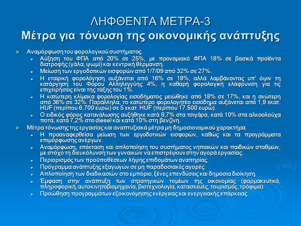 ΛΗΦΘΕΝΤΑ ΜΕΤΡΑ-3 Μέτρα για τόνωση της οικονομικής ανάπτυξης  Αναμόρφωση του φορολογικού συστήματος.