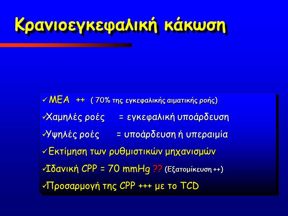 ΜΕΑ ++ ( 70% της εγκεφαλικής αιματικής ροής) ΜΕΑ ++ ( 70% της εγκεφαλικής αιματικής ροής) Χαμηλές ροές = εγκεφαλική υποάρδευση Χαμηλές ροές = εγκεφαλι