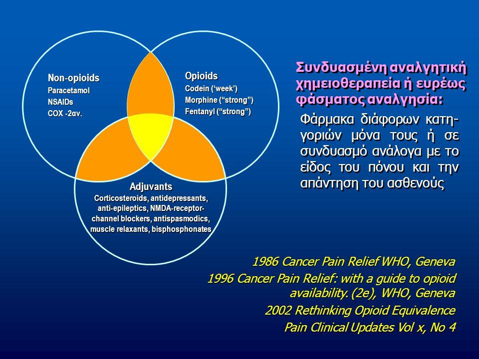 Συνδυασμένη αναλγητική χημειοθεραπεία ή ευρέως φάσματος αναλγησία: Φάρμακα διάφορων κατη- γοριών μόνα τους ή σε συνδυασμό ανάλογα με το είδος του πόνο