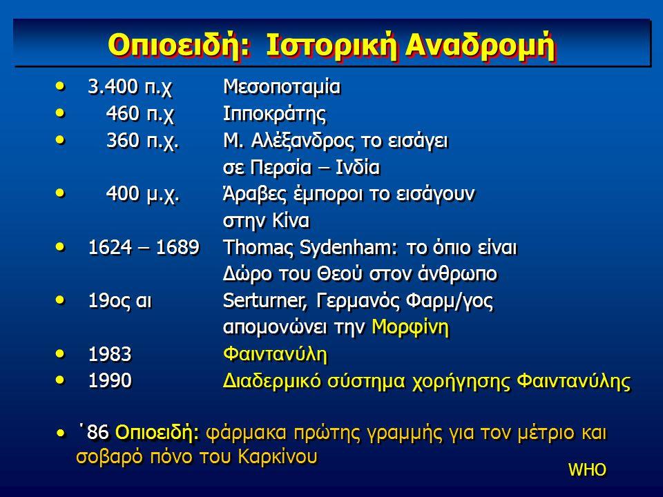 Οπιοειδή: Ιστορική Αναδρομή 3.400 π.χ 460 π.χ 360 π.χ. 400 μ.χ. 1624 – 1689 19ος αι 1983 1990 3.400 π.χ 460 π.χ 360 π.χ. 400 μ.χ. 1624 – 1689 19ος αι