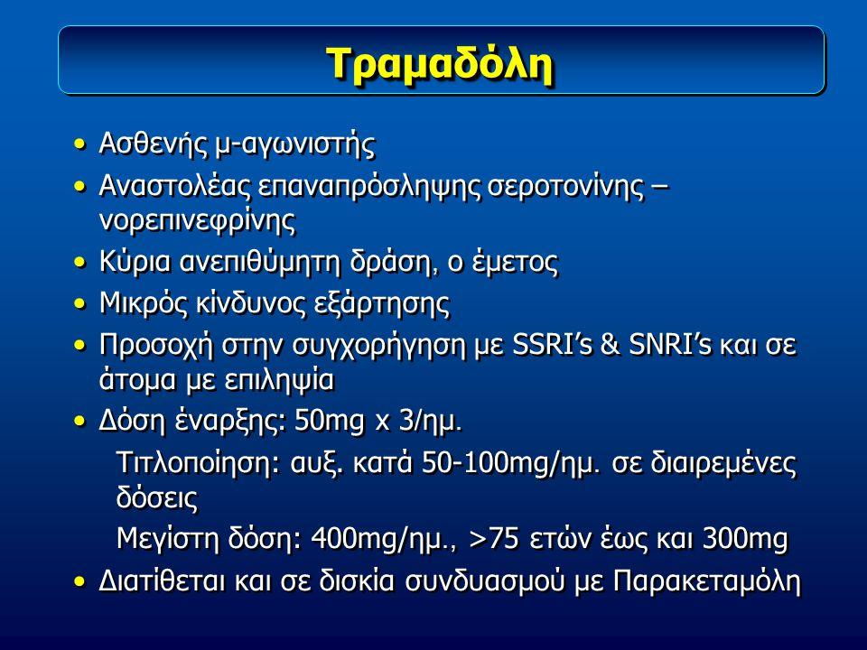 ΤραμαδόληΤραμαδόλη Ασθεν ή ς μ-αγωνιστή ς Αναστολέας επαναπρόσληψης σεροτονίνης – νορεπινε φ ρίνης Κύρια ανεπιθύμητη δράση, ο έμετος Μικρός κίνδυνος ε
