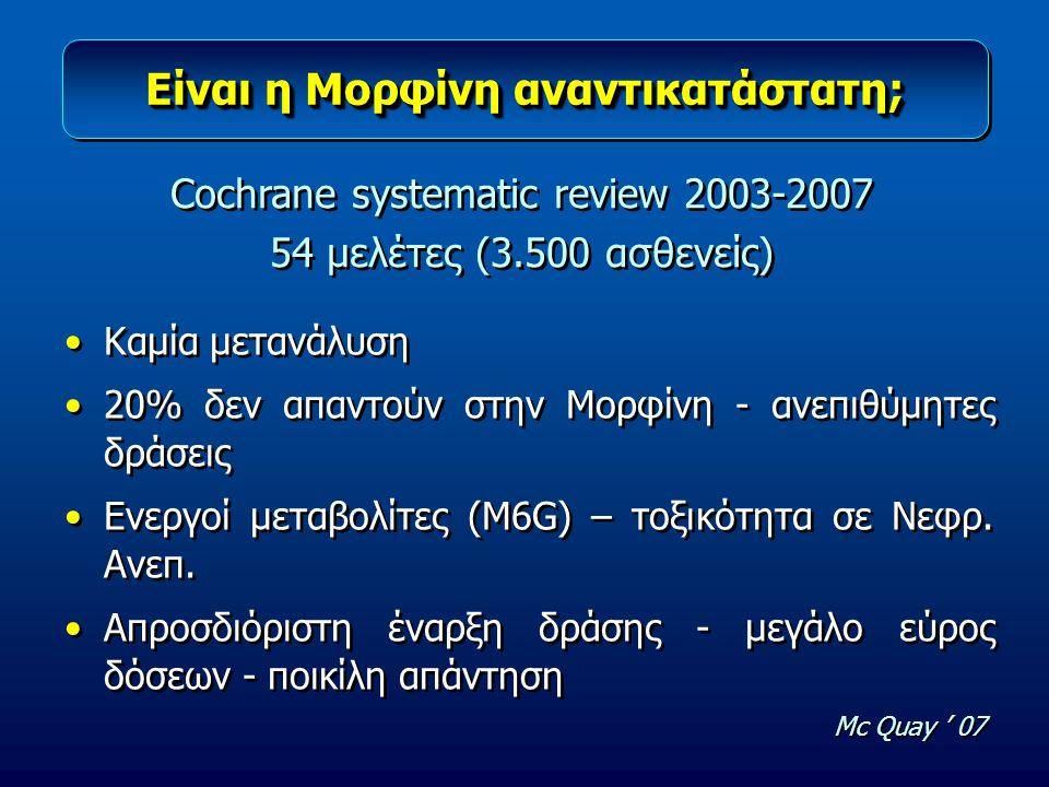 Είναι η Μορφίνη αναντικατάστατη; Καμία μετανάλυση 20% δεν απαντούν στην Μορφίνη - ανεπιθύμητες δράσεις Ενεργοί μεταβολίτες (M6G) – τοξικότητα σε Νεφρ.