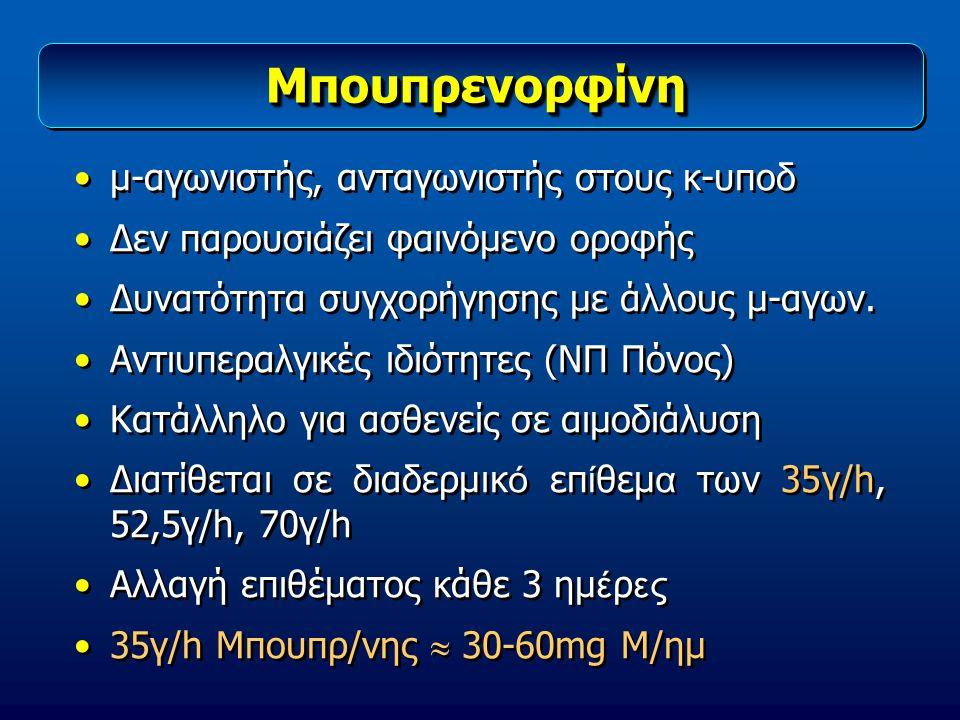 ΜπουπρενορφίνηΜπουπρενορφίνη μ-αγωνιστής, ανταγωνιστής στους κ-υποδ Δεν παρουσιάζει φαινόμενο οροφής Δυνατότητα συγχορήγησης με άλλους μ-αγων. Αντιυπε