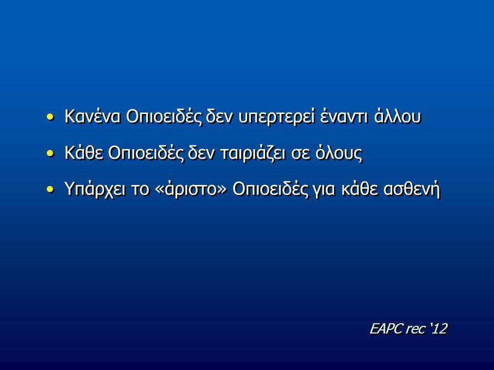 Κανένα Οπιοειδές δεν υπερτερεί έναντι άλλου Κάθε Οπιοειδές δεν ταιριάζει σε όλους Υπάρχει το «άριστο» Οπιοειδές για κάθε ασθενή Κανένα Οπιοειδές δεν υ