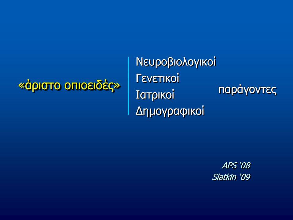 Νευροβιολογικοί Γενετικοί Ιατρικοί Δημογραφικοί Νευροβιολογικοί Γενετικοί Ιατρικοί Δημογραφικοί «άριστο οπιοειδές» παράγοντες APS '08 Slatkin '09 APS