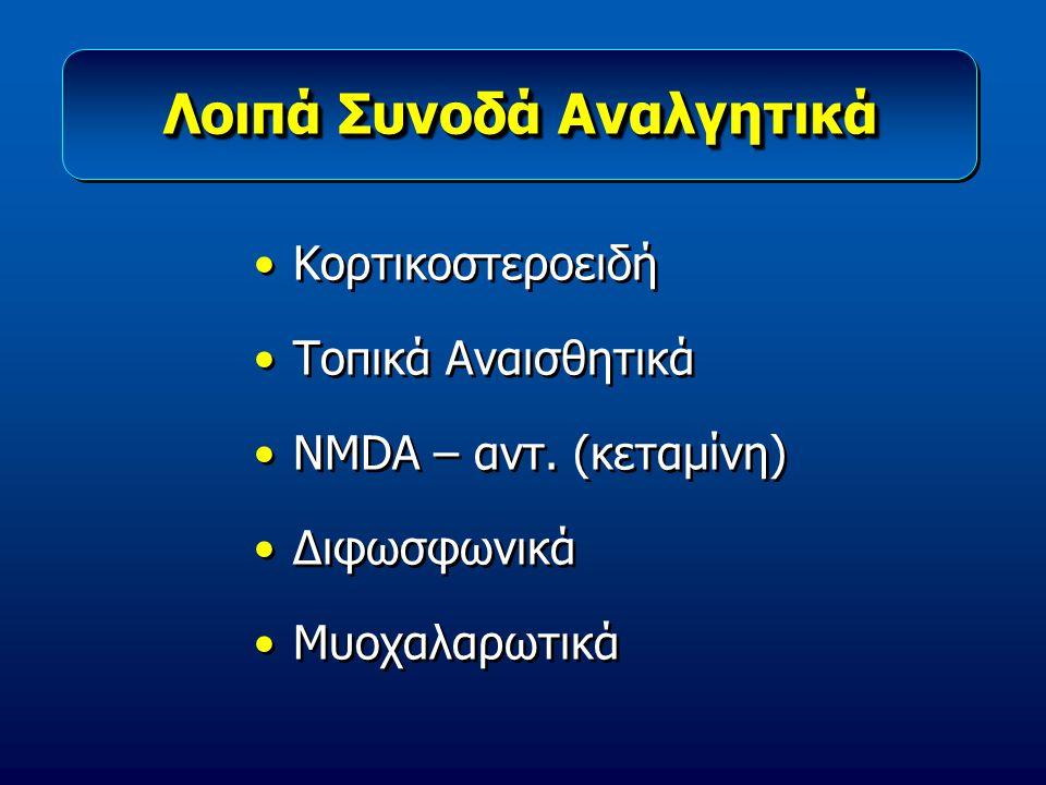 Λοιπά Συνοδά Αναλγητικά Κορτικοστεροειδή Τοπικά Αναισθητικά NMDA – αντ. (κεταμίνη) Διφωσφωνικά Μυοχαλαρωτικά Κορτικοστεροειδή Τοπικά Αναισθητικά NMDA