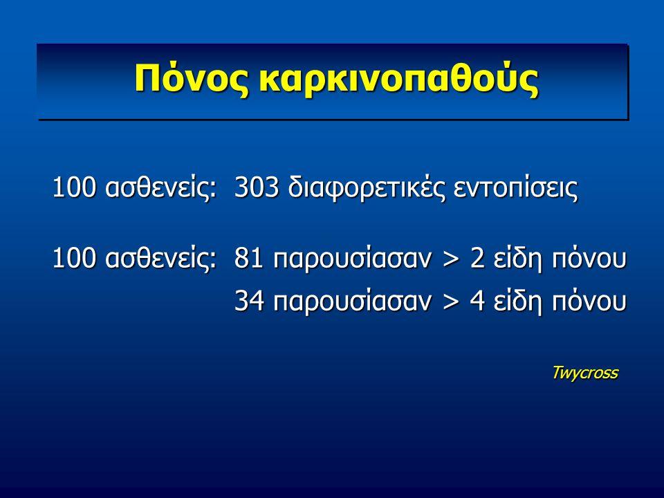 Πόνος καρκινοπαθούς 100 ασθενείς: 303 διαφορετικές εντοπίσεις 100 ασθενείς: 81 παρουσίασαν > 2 είδη πόνου 34 παρουσίασαν > 4 είδη πόνου Twycross