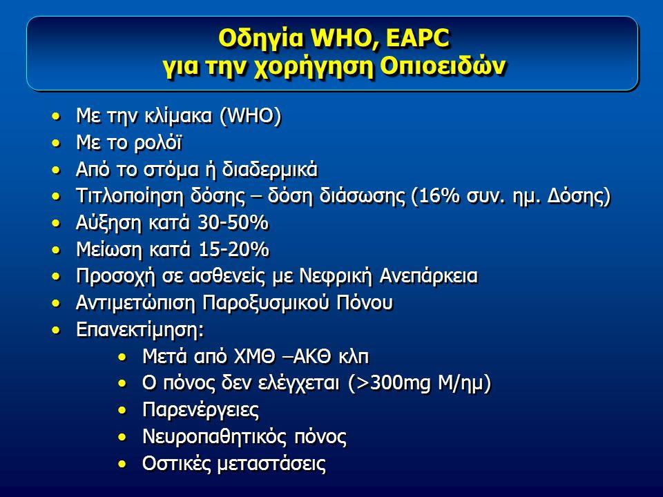 Οδηγία WHO, EAPC για την χορήγηση Οπιοειδών Οδηγία WHO, EAPC για την χορήγηση Οπιοειδών Με την κλίμακα (WHO) Με το ρολόϊ Από το στόμα ή διαδερμικά Τιτ