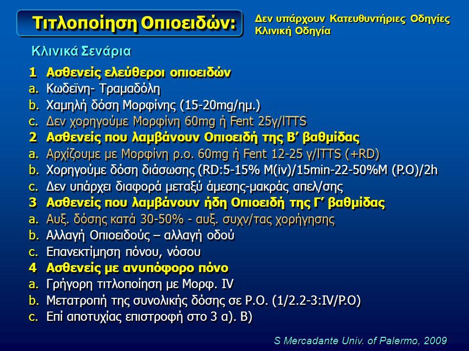 Τιτλοποίηση Οπιοειδών: 1Ασθενείς ελεύθεροι οπιοειδών a.Κωδεϊνη- Τραμαδόλη b.Χαμηλή δόση Μορφίνης (15-20mg/ημ.) c.Δεν χορηγούμε Μορφίνη 60mg ή Fent 25γ