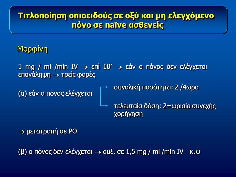 1 mg / ml /min IV  επί 10'  εάν ο πόνος δεν ελέγχεται επανάληψη  τρείς φορές (α) εάν ο πόνος ελέγχεται  μετατροπή σε PO (β) ο πόνος δεν ελέγχεται