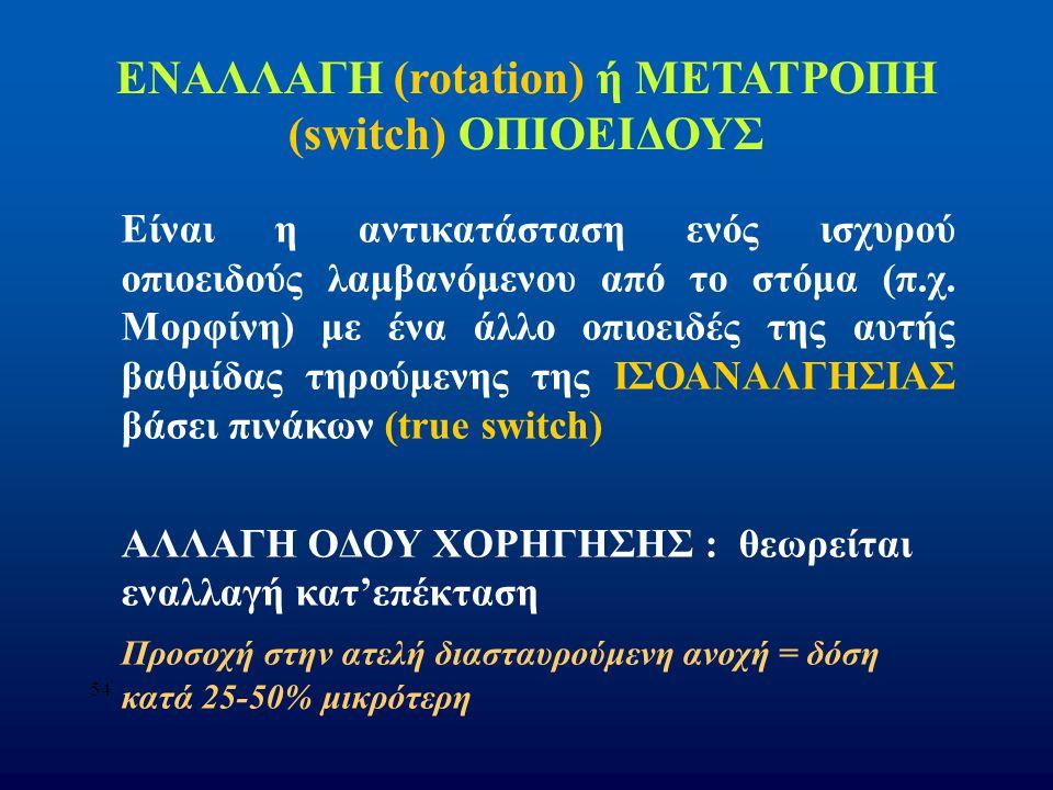 54 ΕΝΑΛΛΑΓΗ (rotation) ή ΜΕΤΑΤΡΟΠΗ (switch) ΟΠΙΟΕΙΔΟΥΣ Είναι η αντικατάσταση ενός ισχυρού οπιοειδούς λαμβανόμενου από το στόμα (π.χ. Μορφίνη) με ένα ά