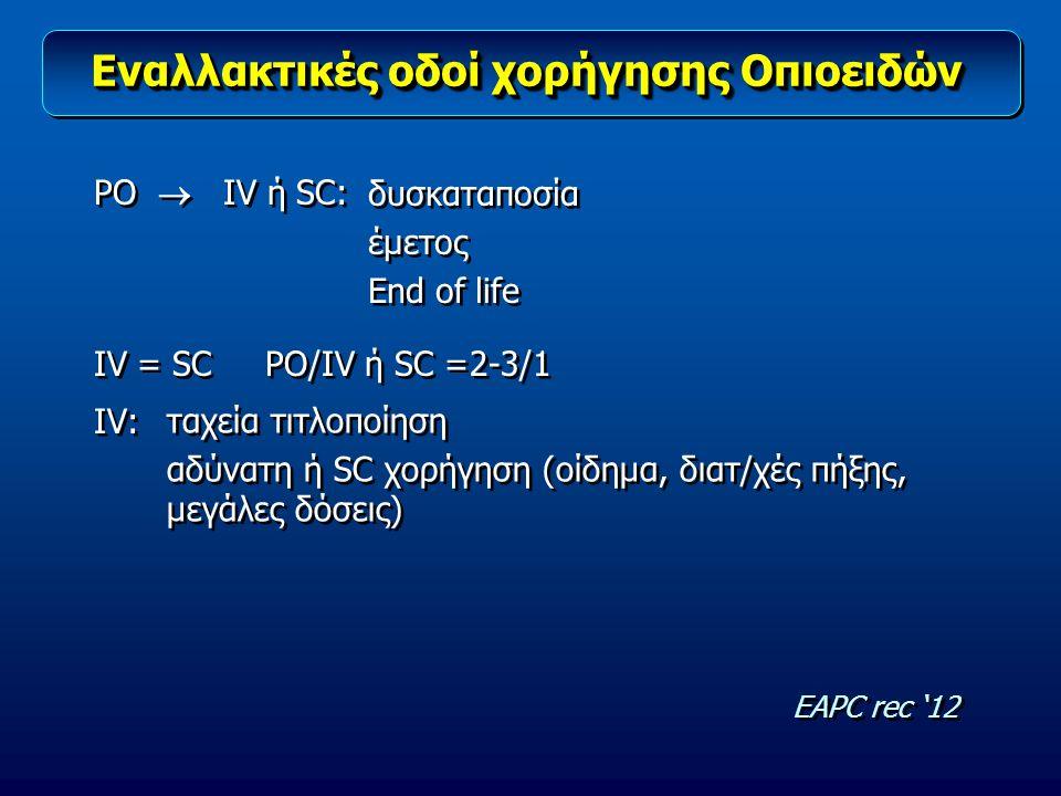 Εναλλακτικές οδοί χορήγησης Οπιοειδών ΡΟ  IV ή SC: IV = SC PO/IV ή SC =2-3/1 IV: ΡΟ  IV ή SC: IV = SC PO/IV ή SC =2-3/1 IV: δυσκαταποσία έμετος End