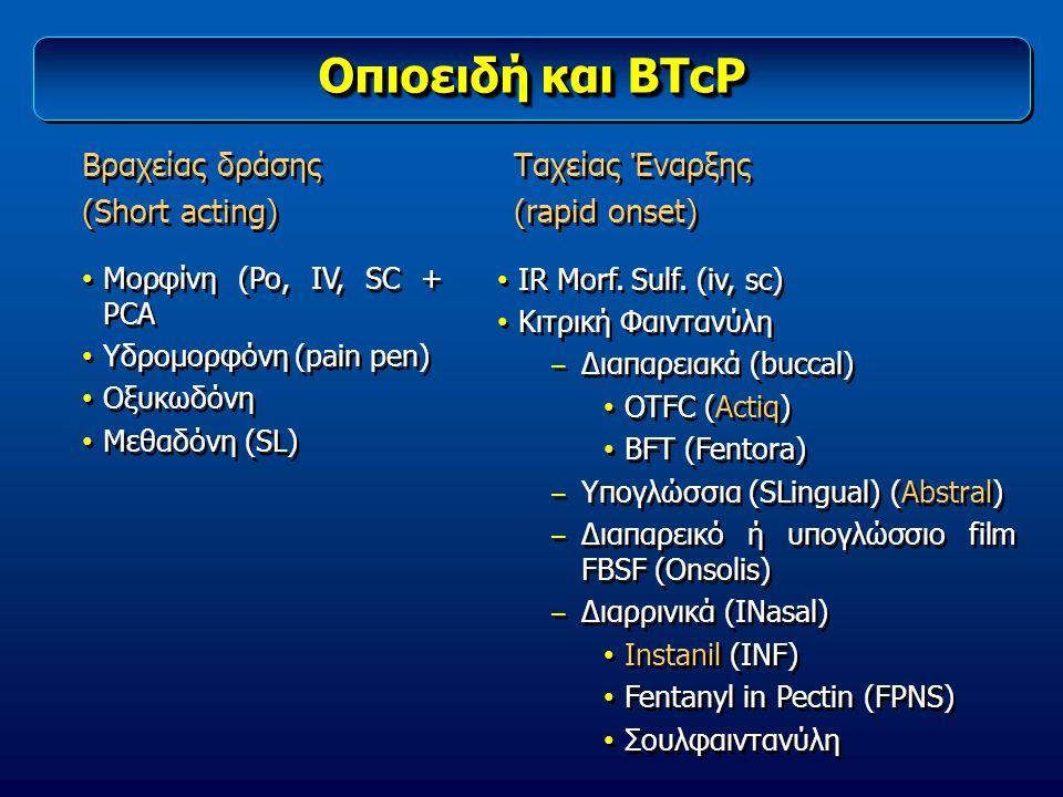 Οπιοειδή και BTcP Βραχείας δράσης (Short acting) Βραχείας δράσης (Short acting) Ταχείας Έναρξης (rapid onset) Ταχείας Έναρξης (rapid onset) Μορφίνη (P