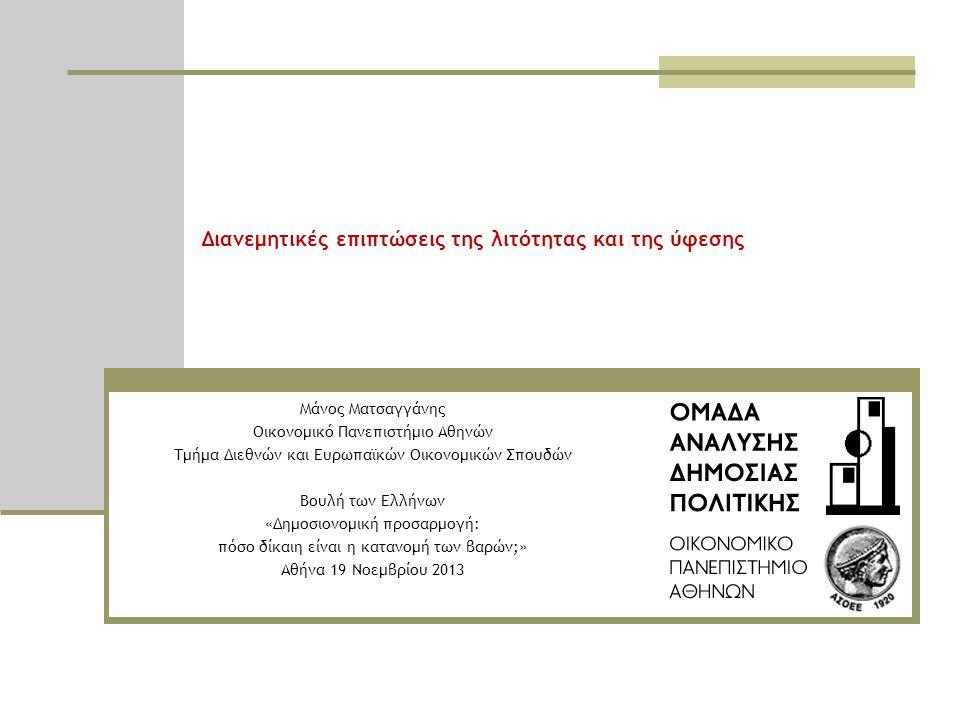 Διανεμητικές επιπτώσεις της λιτότητας και της ύφεσης Μάνος Ματσαγγάνης Οικονομικό Πανεπιστήμιο Αθηνών Τμήμα Διεθνών και Ευρωπαϊκών Οικονομικών Σπουδών Βουλή των Ελλήνων «Δημοσιονομική προσαρμογή: πόσο δίκαιη είναι η κατανομή των βαρών;» Αθήνα 19 Νοεμβρίου 2013