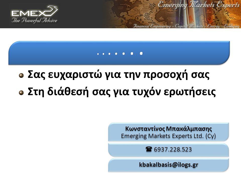 Σας ευχαριστώ για την προσοχή σας Στη διάθεσή σας για τυχόν ερωτήσεις Κωνσταντίνος Μπακάλμπασης Emerging Markets Experts Ltd.