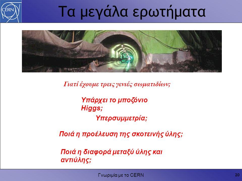 Γνωριμία με το CERN 20 Τα μεγάλα ερωτήματα Γιατί έχουμε τρεις γενιές σωματιδίων; Υπερσυμμετρία; Υπάρχει το μποζόνιο Higgs; Ποιά η διαφορά μεταξύ ύλης