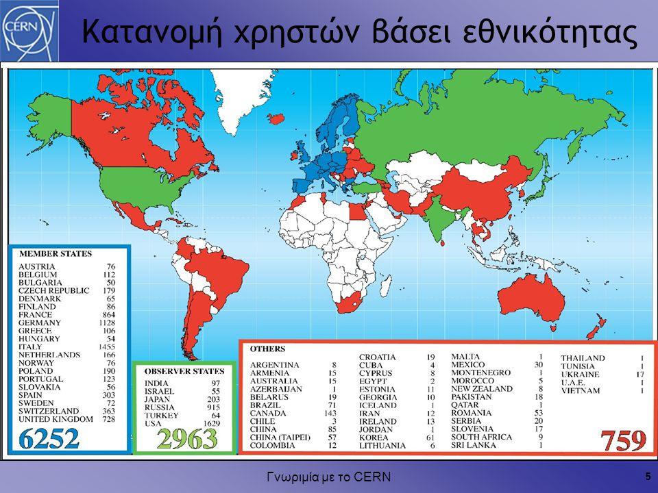 Γνωριμία με το CERN 5 Κατανομή χρηστών βάσει εθνικότητας