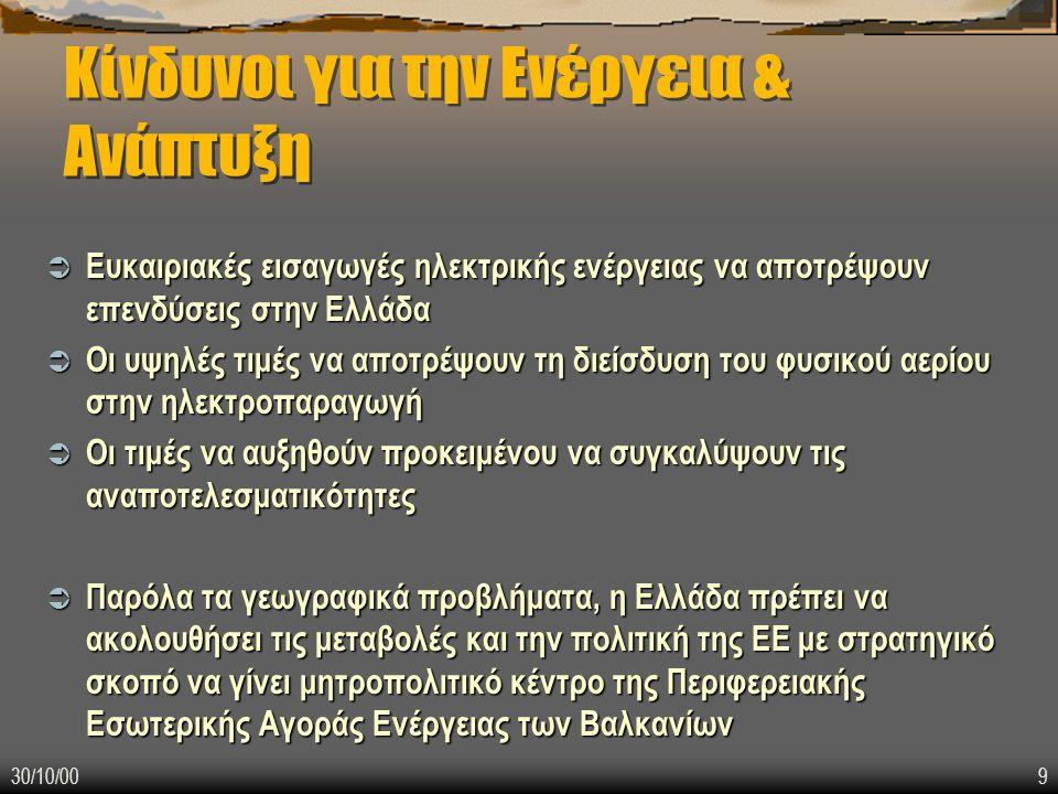 30/10/009 Κίνδυνοι για την Ενέργεια & Ανάπτυξη  Ευκαιριακές εισαγωγές ηλεκτρικής ενέργειας να αποτρέψουν επενδύσεις στην Ελλάδα  Οι υψηλές τιμές να αποτρέψουν τη διείσδυση του φυσικού αερίου στην ηλεκτροπαραγωγή  Οι τιμές να αυξηθούν προκειμένου να συγκαλύψουν τις αναποτελεσματικότητες  Παρόλα τα γεωγραφικά προβλήματα, η Ελλάδα πρέπει να ακολουθήσει τις μεταβολές και την πολιτική της ΕΕ με στρατηγικό σκοπό να γίνει μητροπολιτικό κέντρο της Περιφερειακής Εσωτερικής Αγοράς Ενέργειας των Βαλκανίων