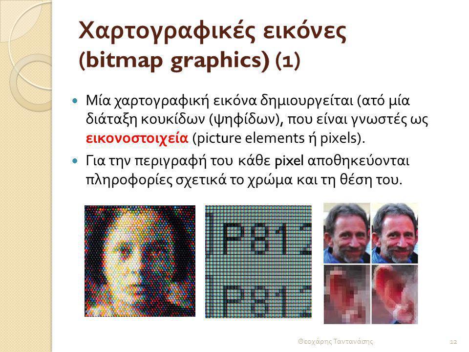Χαρτογραφικές εικόνες (bitmap graphics) (1) Μία χαρτογραφική εικόνα δημιουργείται ( ατό μία διάταξη κουκίδων ( ψηφίδων ), που είναι γνωστές ως εικονοσ