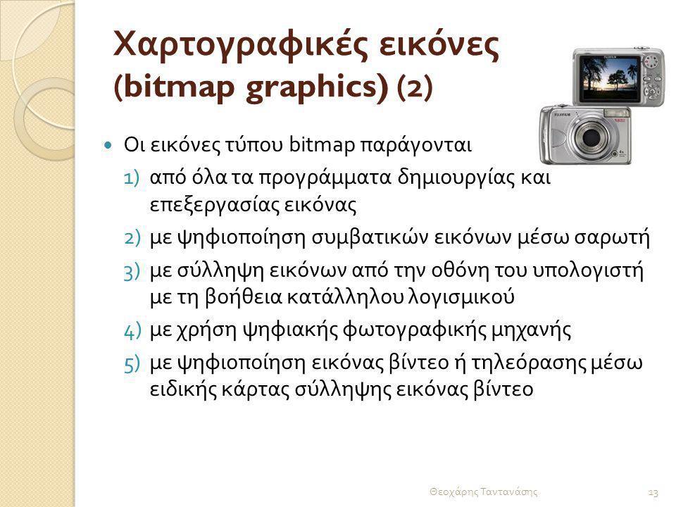 Χαρτογραφικές εικόνες (bitmap graphics) (2) Οι εικόνες τύπου bitmap παράγονται 1)από όλα τα προγράμματα δημιουργίας και επεξεργασίας εικόνας 2)με ψηφι