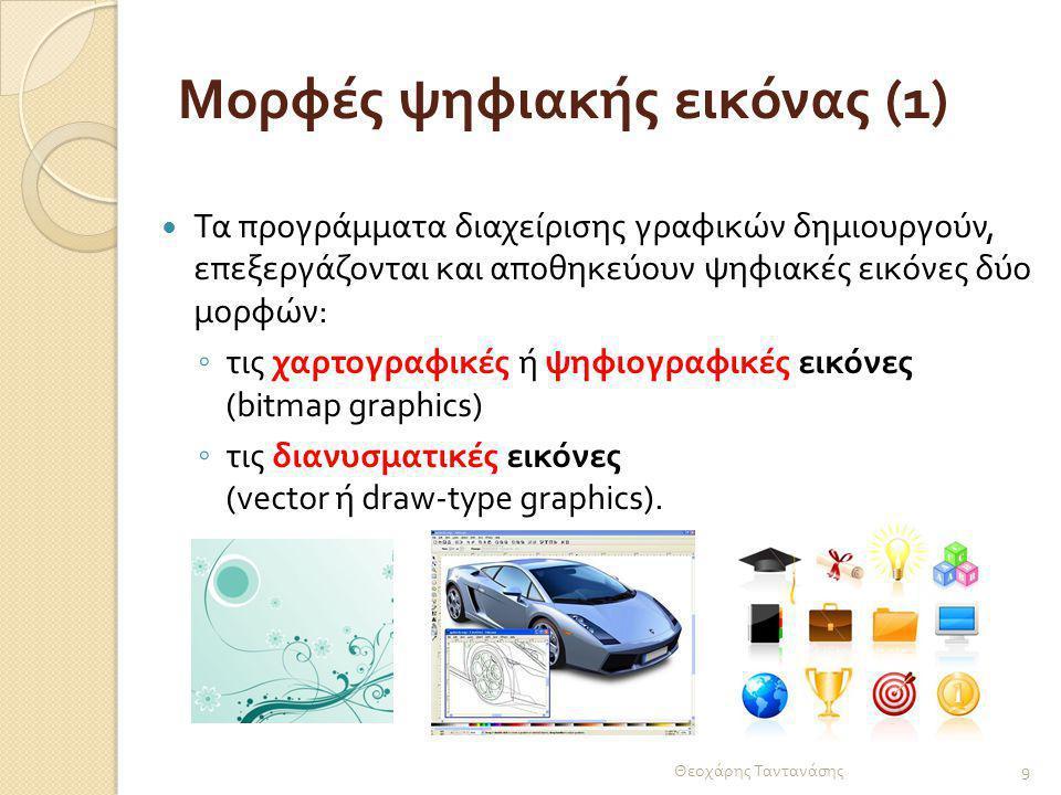 Μορφές ψηφιακής εικόνας (2) Διαφορά ανάμεσα στα δύο είδη εικόνων : Θεοχάρης Ταντανάσης 10 διανυσματικές εικόνες ψηφιογραφικές εικόνες