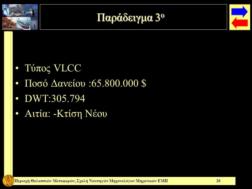 Παράδειγμα 3 ο Περιοχή Θαλασσιών Μεταφορών, Σχολή Ναυπηγών Μηχανολόγων Μηχανικών ΕΜΠ 26 Τύπος VLCC Ποσό Δανείου :65.800.000 $ DWT:305.794 Αιτία: -Κτίση Νέου