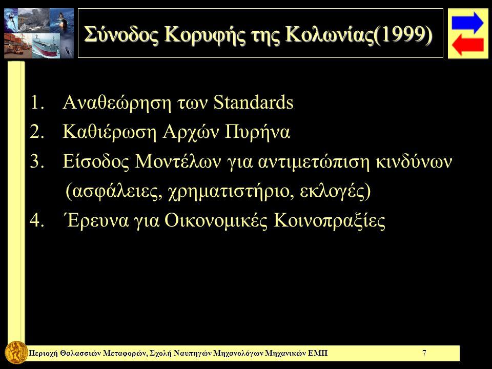 Σύνοδος Κορυφής της Κολωνίας(1999) Περιοχή Θαλασσιών Μεταφορών, Σχολή Ναυπηγών Μηχανολόγων Μηχανικών ΕΜΠ 7 1.Αναθεώρηση των Standards 2.Καθιέρωση Αρχών Πυρήνα 3.Είσοδος Μοντέλων για αντιμετώπιση κινδύνων (ασφάλειες, χρηματιστήριο, εκλογές) 4.