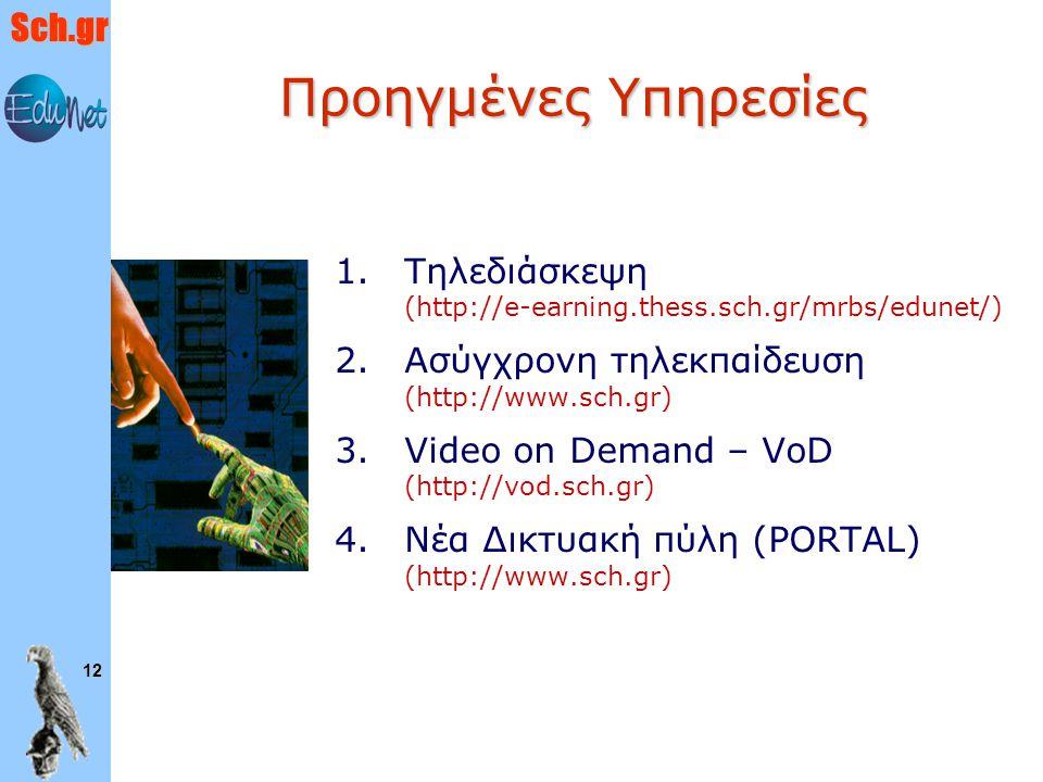 Sch.gr 12 Προηγμένες Υπηρεσίες 1. 1.Τηλεδιάσκεψη (http://e-earning.thess.sch.gr/mrbs/edunet/) 2. 2.Ασύγχρονη τηλεκπαίδευση (http://www.sch.gr) 3. 3.Vi