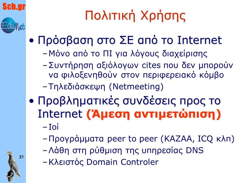 Sch.gr 21 Πολιτική Χρήσης Πρόσβαση στο ΣΕ από το InternetΠρόσβαση στο ΣΕ από το Internet –Μόνο από το ΠΙ για λόγους διαχείρισης –Συντήρηση αξιόλογων c