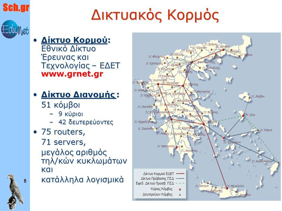 Sch.gr 5 Δικτυακός Κορμός Δίκτυο Κορμού: Εθνικό Δίκτυο Έρευνας και Τεχνολογίας – ΕΔΕΤ www.grnet.grΔίκτυο Κορμού: Εθνικό Δίκτυο Έρευνας και Τεχνολογίας